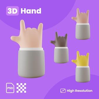 Kolekcja 3d Z Rękami Tworzącymi Znak Rock And Rolla Premium Psd