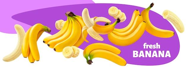 Kolekcja bananowe owoc odizolowywać