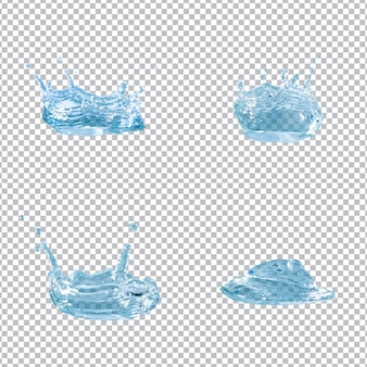 Kolekcja czterech splatters wody