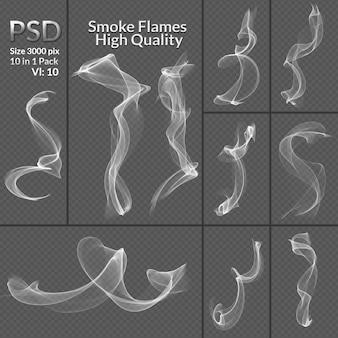 Kolekcja dymu na białym tle przezroczyste tło