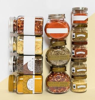 Kolekcja etykietowania słoików z przyprawami