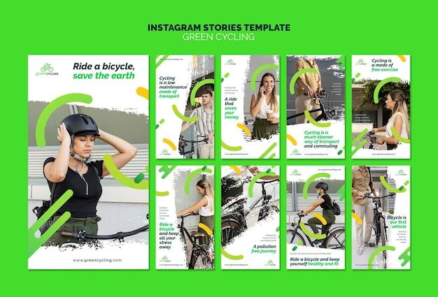 Kolekcja historii na instagramie dla ekologicznej jazdy na rowerze