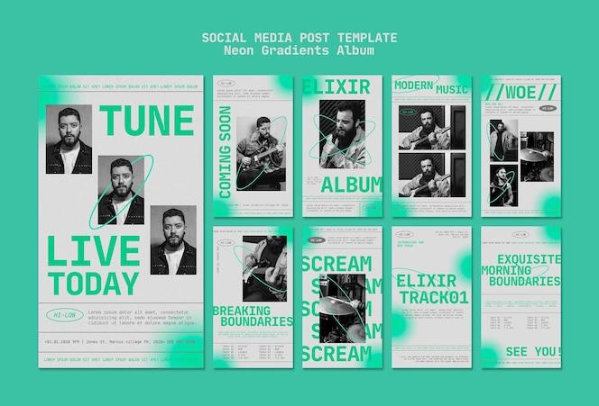 Kolekcja historii na instagramie dla męskiego muzyka z neonowymi gradientami