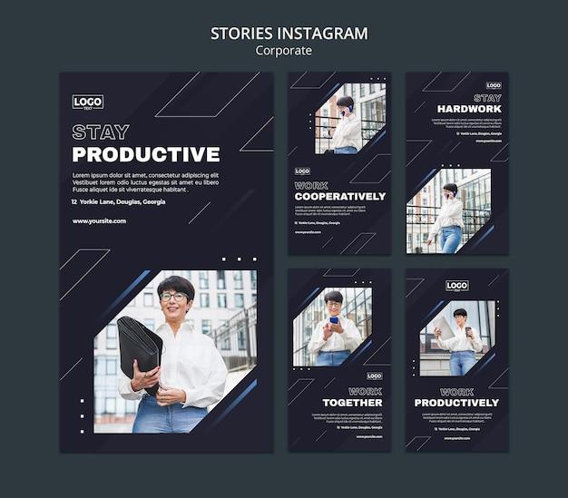 Kolekcja historii na instagramie dla profesjonalnych korporacji biznesowych