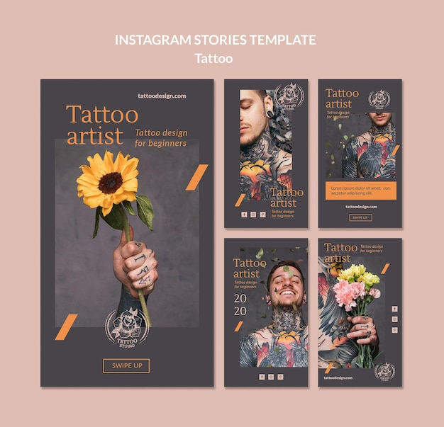 Kolekcja historii na instagramie dla tatuażystów