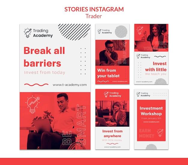 Kolekcja historii na instagramie dla zawodu inwestora inwestycyjnego