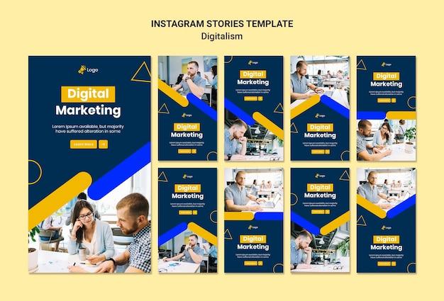Kolekcja historii na instagramie do marketingu cyfrowego