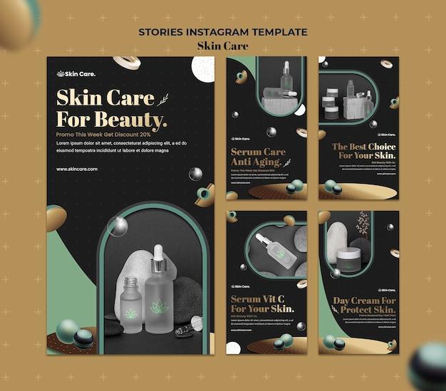 Kolekcja historii na instagramie dotyczących produktów do pielęgnacji skóry