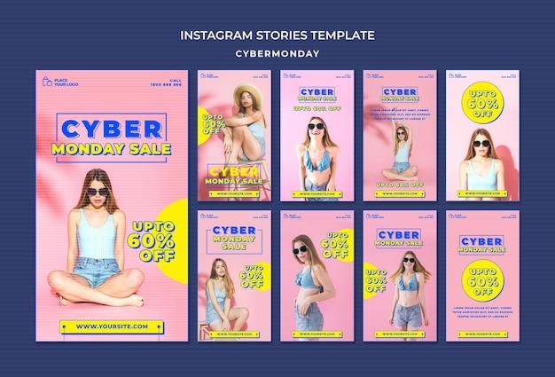 Kolekcja historii na instagramie na zakupy w cyber poniedziałek