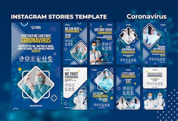 Kolekcja historii na instagramie w celu zwiększenia świadomości na temat koronawirusa