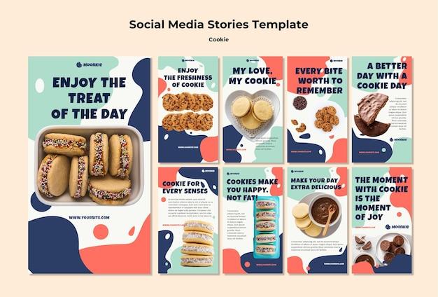 Kolekcja historii na instagramie z plikami cookie