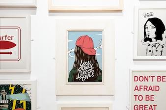 Kolekcja inspirująca grafika na ścianie