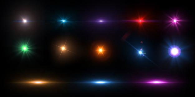 Kolekcja kolorowych flar obiektywu