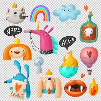 Kolekcja kreskówka doodles clipart