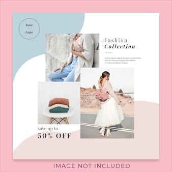 Kolekcja mody instagram post banner template
