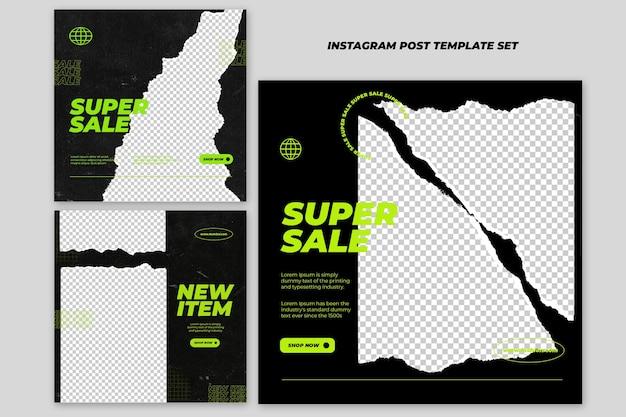 Kolekcja mody podarty papier post na instagramie