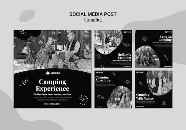 Kolekcja monochromatycznych postów na instagramie na kemping z parą
