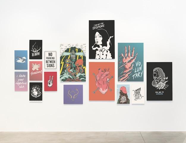 Kolekcja motywacyjnych plakatów na ścianie