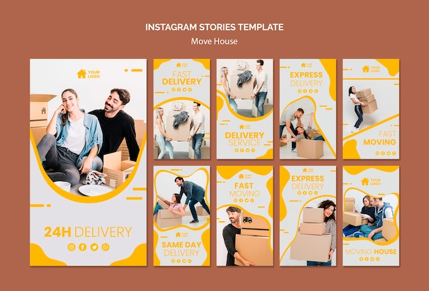 Kolekcja opowiadań na instagramie dla firmy przeprowadzkowej