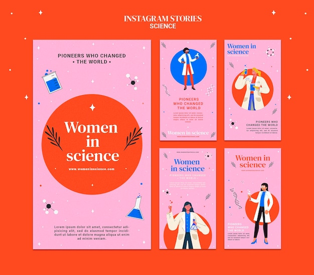 Kolekcja opowiadań na instagramie dla kobiet zajmujących się nauką
