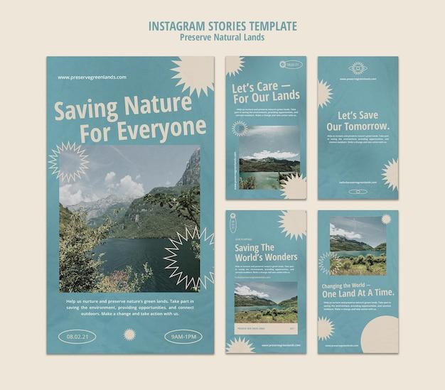 Kolekcja opowiadań na instagramie dla ochrony przyrody z krajobrazem