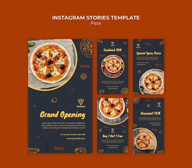 Kolekcja opowiadań na instagramie dla pizzerii