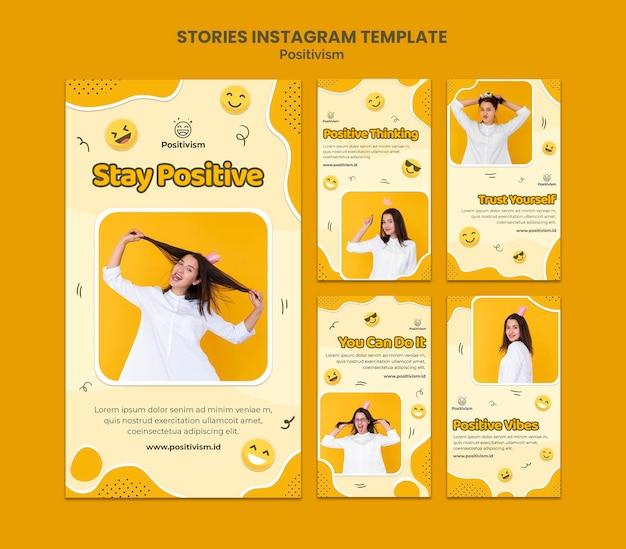 Kolekcja opowiadań na instagramie dla pozytywizmu ze szczęśliwą kobietą