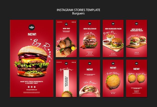 Kolekcja opowiadań na instagramie dla restauracji burgerowej