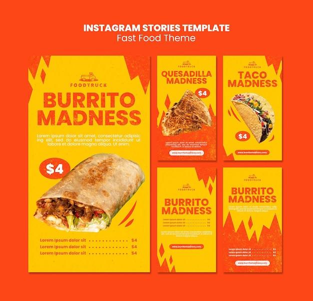 Kolekcja opowiadań na instagramie dla restauracji typu fast food