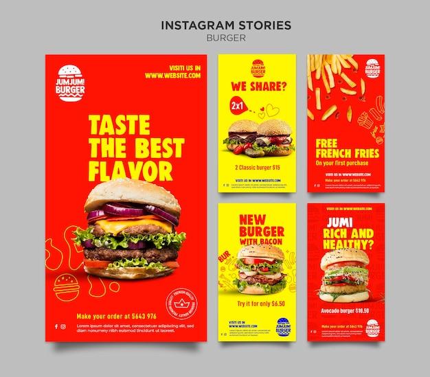 Kolekcja opowiadań na instagramie dla restauracji z burgerami