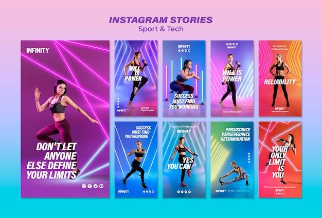 Kolekcja opowiadań na instagramie dla sportu i ćwiczeń