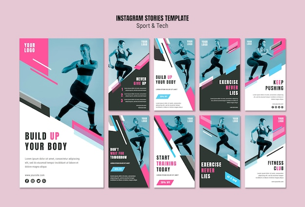 Kolekcja opowiadań na instagramie dla sportu i fitnessu