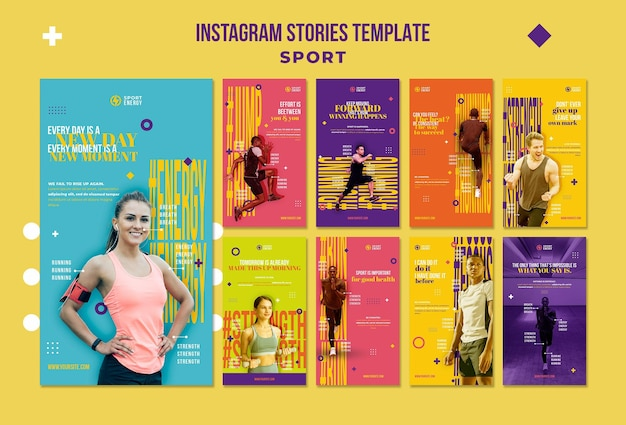 Kolekcja opowiadań na instagramie dla sportu z motywacyjnymi cytatami