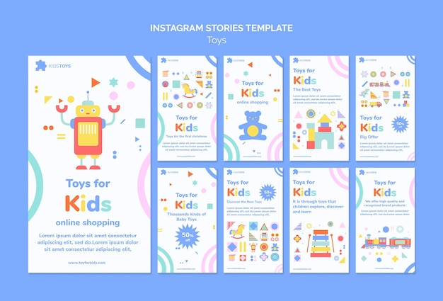 Kolekcja opowiadań na instagramie dla zabawek dla dzieci podczas zakupów online