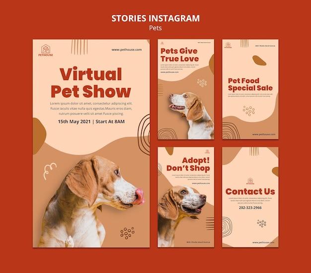 Kolekcja opowiadań na instagramie dla zwierząt domowych z uroczym psem