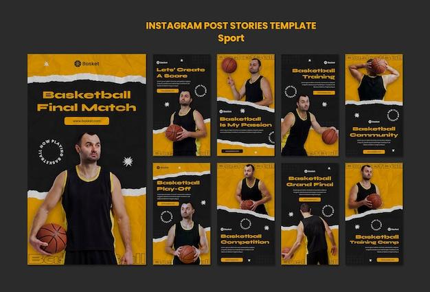Kolekcja opowiadań na instagramie do gry w koszykówkę z męskim graczem