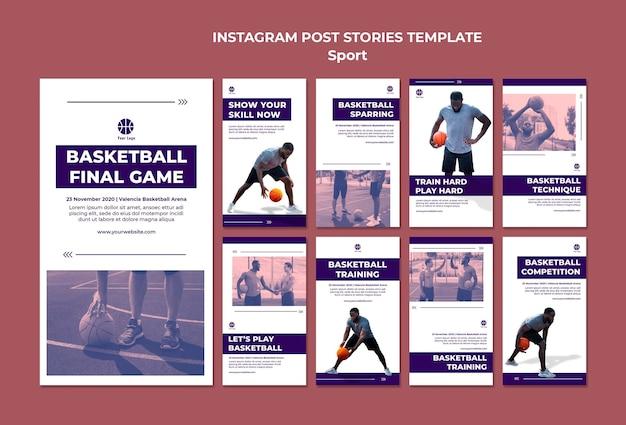 Kolekcja opowiadań na instagramie do gry w koszykówkę