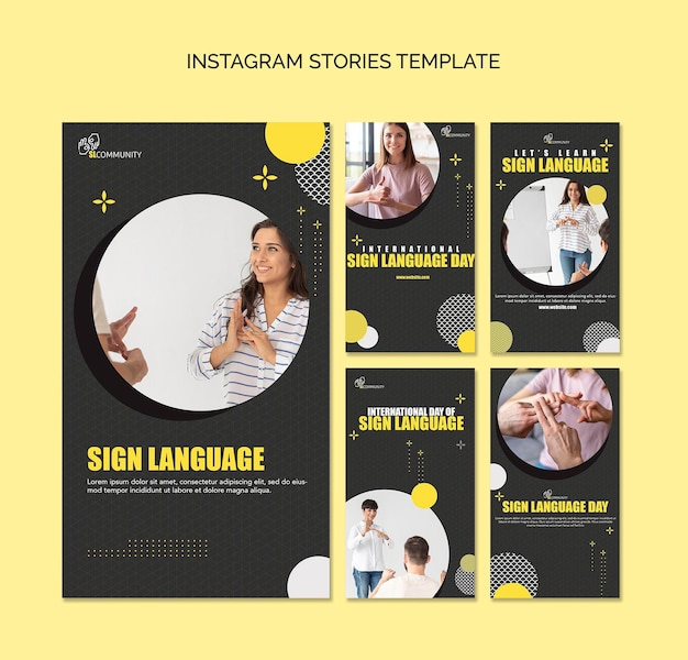 Kolekcja opowiadań na instagramie do komunikacji w języku migowym