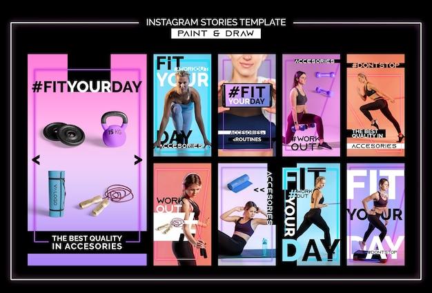 Kolekcja opowiadań na instagramie do treningu fitness