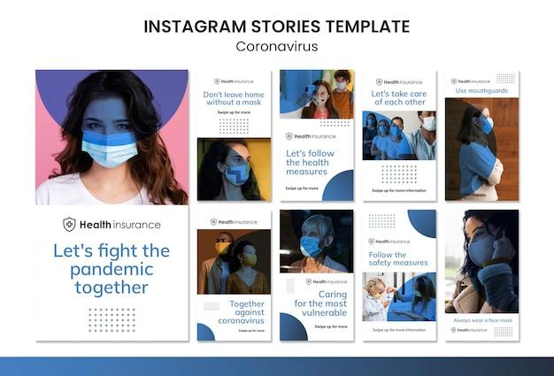 Kolekcja opowiadań na instagramie dotyczących pandemii koronawirusa z maską medyczną