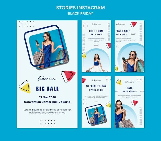 Kolekcja opowiadań na instagramie na czarny piątek z kobietą i trójkątami