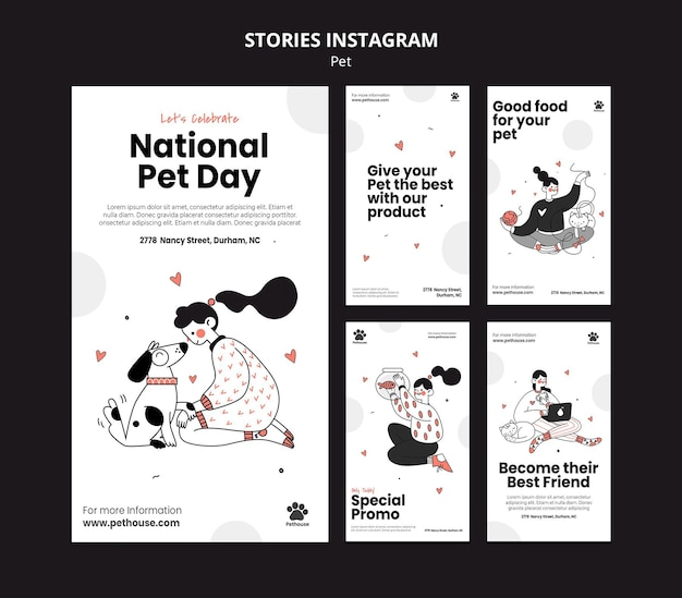 Kolekcja opowiadań na instagramie na narodowy dzień zwierzaka z właścicielką i zwierzakiem