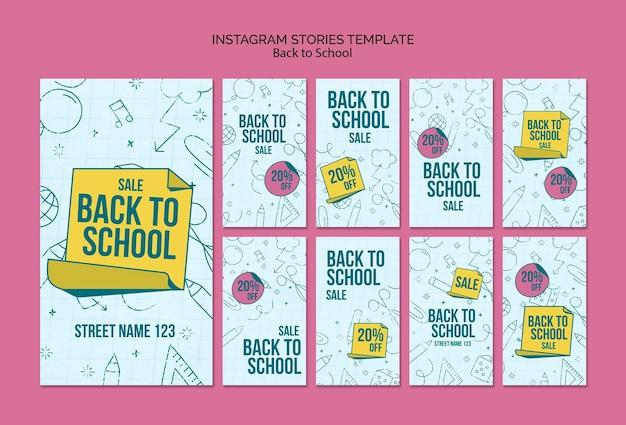 Kolekcja opowiadań na instagramie na powrót do szkoły