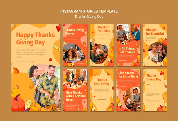 Kolekcja opowiadań na instagramie na święto dziękczynienia