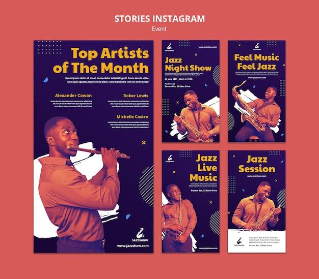Kolekcja opowiadań na instagramie na wydarzenie z muzyką jazzową