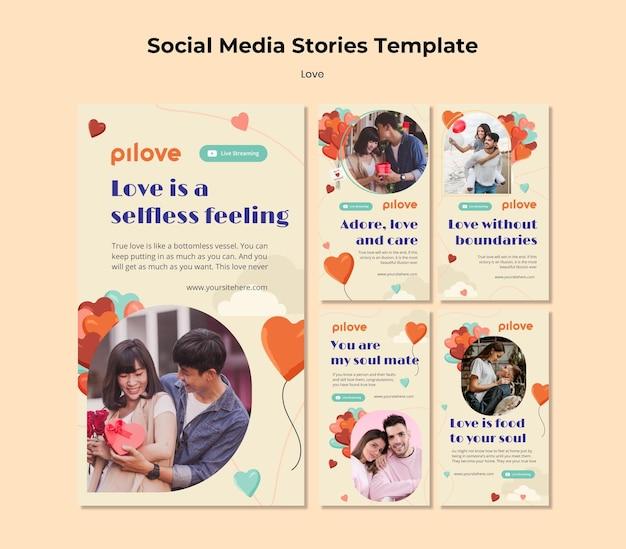 Kolekcja opowiadań na instagramie o miłości z romantyczną parą i sercami