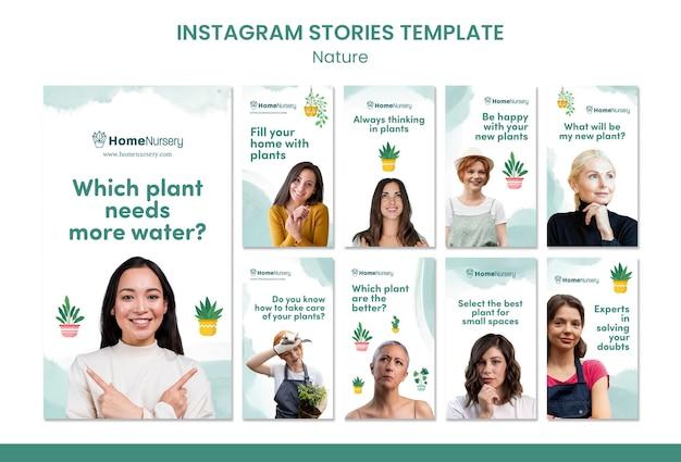 Kolekcja opowiadań na instagramie o pielęgnacji roślin domowych z kobietą