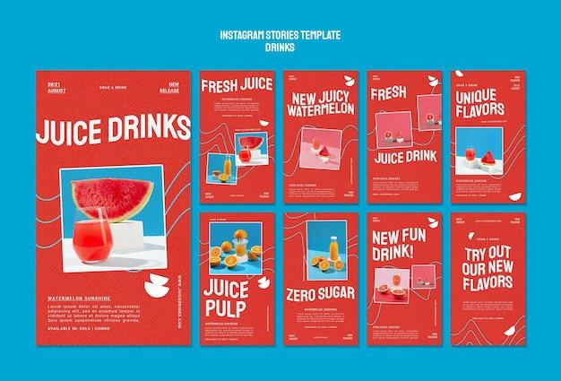 Kolekcja opowiadań na instagramie o zdrowym soku owocowym