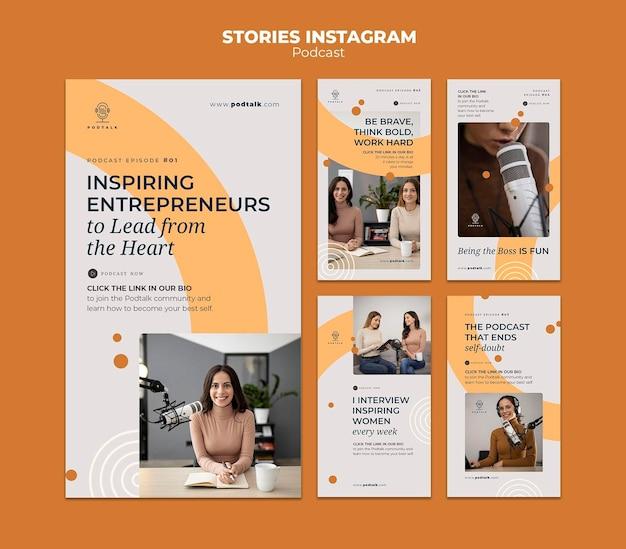 Kolekcja opowiadań na instagramie z kobietą podcastową i mikrofonem