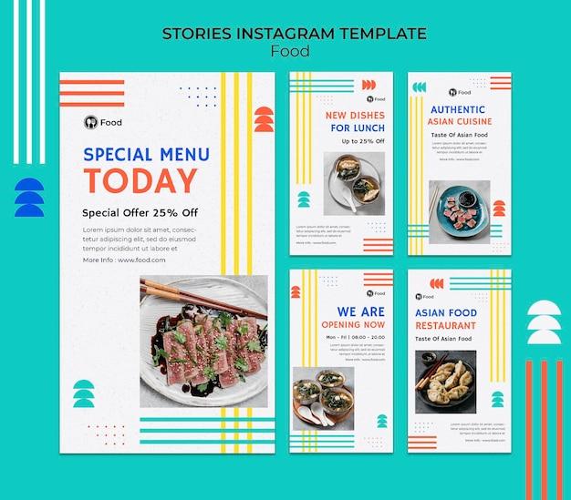 Kolekcja opowiadań na instagramie z potrawami z kuchni azjatyckiej